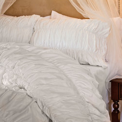 Crane & Canopy - 300 Thread Count Ruffle Textured Duvet Cover, The Sutter White - Expressive textures evoke a cool and youthful spirit. With volume and dimension, our Sutter White ruched duvet cover is a narrative of modern life: complex, multi-faceted, and lustrous.