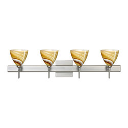 Besa Lighting - Besa Lighting 4SW-1779HN-SQ Mia 4 Light Reversible Halogen Bathroom Vanity Light - Mia has a classical bell shape that complements aesthetic, while also built for optimal illumination. This unique decor is handcrafted, with layered swirls of yellow-amber and golden-brown against white, finished to a high gloss. It's classic swirl pattern and high gloss surface has a truly florid gleam. Honey is a hand-blown glass designed to have a shiny and polished finish. The glass is gathered and rolled into shape a unique pattern is formed that cannot be replicated. This blown glass is handcrafted by a skilled artisan, utilizing century-old techniques passed down from generation to generation. Each piece of this decor has its own unique artistic nature that can be individually appreciated. The vanity fixture is equipped with decorative lamp holders, removable finials, linear rectangular housing, and a removable low profile oval canopy cover.Features: