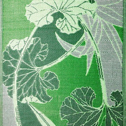b.b.begonia - Area Rug/Patio Mat-Blossom-Reversible, Green/Grey For Outdoor Use, 4'x6' - Reversible pattern between front and back sides. This reversible mat is a great solution for the sunroom, for the patio, for the deck, by the pool or in the yard.