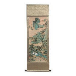 Golden Lotus - Chinese Print Water Mountain Scenery Scroll Painting - This is a print copy oriental scroll painting with green tone color water mountain  scenery.