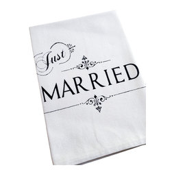 """The Coin Laundry - 'Just Married' Cotton Napkins, Set of 4 - """"I love being married. It's so great to find that one special person you want to annoy for the rest of your life."""" -Rita Rudner"""