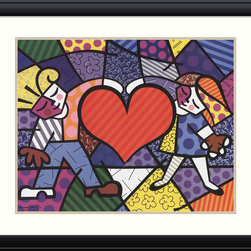 None - Romero Britto 'Heart Kids' Framed Art Print 37 x 31-inch - Artist: Romero BrittoTitle: Heart KidsFrame: 2-inch Contemporary Black with raised border.Outside dimensions: 30.88 inches high x 36.50 inches wide