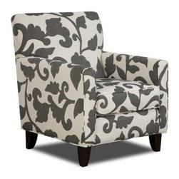 Chelsea Home Bergen Accent Chair - Marcie Onyx - Dark gray leafy patterns contrast boldly against a cream foundation in this attractive and comfortable Chelsea Home Bergen Accent Chair - Marcie Onyx. In addition to its obvious aesthetics, you'll also enjoy the chair's soft but sturdy cushions as you relax into an evening of television, work on your iPad or converse with a friend sitting on an adjacent couch. Constructed with a traditionally styled solid hardwood frame and featuring four visible legs that further stability, the chair's cushions were made from 1.8 density foam and are Dacron wrapped to prevent annoying sliding when you lean forward to the coffee table or adjust leg position. The cushions are also reversible to prevent uneven wear. Measuring 30 inches across and 32 inches deep, the chair is roomy and spacious enough for a variety of activities – including an afternoon nap if needed.About Chelsea Home FurnitureProviding home elegance in upholstery products such as recliners, stationary upholstery, leather, and accent furniture including chairs, chaises, and benches is the most important part of Chelsea Home Furniture's operations. Bringing high quality, classic and traditional designs that remain fresh for generations to customers' homes is no burden, but a love for hospitality and home beauty. The majority of Chelsea Home Furniture's products are made in the USA, while all are sought after throughout the industry and will remain a staple in home furnishings.