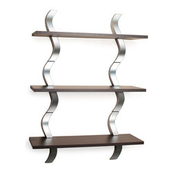 Danya B. - Waves 3 Level Shelving System - You'll breathe a little easier when your books and baubles are out of the way and beautifully displayed on this wavy shelf. Free up your floor and counter space by using this wall shelf to store books, accent pieces and more. The silver S-shape design and deep walnut finish give it a blissfully sleek but down-to-earth look.