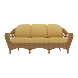 Forever Patio - Catalina Outdoor Traditional Sofa, Straw Wicker, Wheat Cushions - The Forever Patio Catalina Outdoor 3-Seater Sofa in Straw Wicker with Gold Sunbrella® Cushions (SKU FP-CAT-S-ST-CW) features a deep-seated design and sweeping curves, making it both incredibly comfortable and stylish. The UV-protected, straw-colored wicker incorporates subtle shifts in tones, providing a look that is complex and beautiful. This sofa includes fade- and mildew-resistant Sunbrella&Reg; cushions.