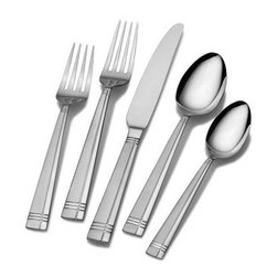 Lifetime Brands - International Silver Dawson Frost 51-Piece Set - International Silver Dawson Frost 51-Piece Flatware Set Service for 8 is constructed of superior quality 18/0 stainless steel and will stand up to the rigors of everyday use. The sleek modern handle design is divided by a single offset vertical line that adds a unique look to the flatware. 51-piece set service for 8 includes 8 each of: dinner fork salad fork dinner spoon and dinner knife; 16 teaspoons; serving tablespoon; pierced serving tablespoon; cold meat fork. Dishwasher safe.