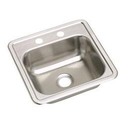 """Elkay - Elkay Dayton 15 x 15 Top Mount Sink with Two Holes, Stainless Steel (D115152) - Elkay D115152 Dayton 15"""" x 15"""" Top Mount Sink with Two Holes, Stainless Steel"""