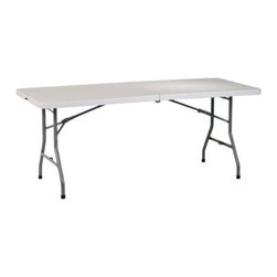 "Office Star - Office Star WorkSmart 6' Resin Center Fold Multi Purpose Table - ""6' Resin Center Fold Multi Purpose TableDimensions (W x L x H): 72"""" x 30"""" x 29.25""""6-foot center-fold multipurpose table with carrying handle and lockHeavy-duty blow-mold off-white resin top and gray powder-coated steel tube frameWaterproof, stainproof, scratch- and impact-resistant; ideal for indoor or outdoor useSets up and cleans easily; folds flat for storageMeasures 72 inches long by 30 inches wide by 29-1/4 inches high; weighs 34 pounds; holds 300 pounds"""