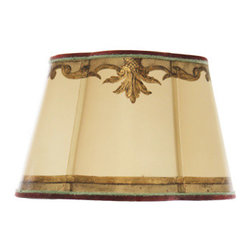 Dilusso Antique Custom Lamps - Custom Round Scalloped shade, Large - This Round Custom shade with cut corners is designed with antiqued silver leaf. With custom colors and decorative custom colored trims.