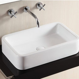 "Caracalla - Gorgeous Contemporary Rectangular Vessel Bathroom Sink - Simple and gorgeous white ceramic bathroom sink without overflow. This rectangular contemporary above counter vessel sink comes with no faucet holes. Designed in Italy by Caracalla. Sink dimensions: 22.87"" (width), 4.90"" (height), 14.20"" (depth)"