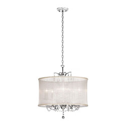 "Joshua Marshal Home Collection - Glamorous 5-light 20"" Cream Drum Shade Crystal Pendant Chandelier - Add a touch of Elegance to your decor with this beautiful Cream Drum shade crystal chandelier. It comes with three Feet of chain so you can adjust the height,and it can hold up to five candelabra lights,which will cast a soft glow onto the shade."