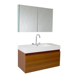"""Fresca - 39 Inch Teak Modern Bathroom Vanity - This vanity is striking in its simplicity. It features a beautiful widespread chrome faucet. Don't forget to check under the hood with the innovative storage system that includes a nested drawer. It also features a medicine cabinet that can be either wall mounted or recessed into a wall. The Mezzo is a larger version of the Nano Vanity.  Optional side cabinets are available. Dimensions: 39""""W X 18.63""""D X 21.5""""H (Tolerance: +/- 1/2""""); Counter Top: White Acrylic Countertop/Sink with Overflow; Finish: Teak; Features: 2 Drawers, Soft Closing; Hardware: Chrome; Sink(s): 22""""x12.5""""x6"""" White Acrylic Sink with Overflow; Faucet: Pre-Drilled for Standard Single Hole Faucet (Included); Assembly: Light Assembly Required; Countertop, Sink, Cabinet Not Attached; Large cut out in back for plumbing; Included: Cabinet, Sink, Faucet with Drain, Medicine Cabinet (39.5""""W x 26""""H x 5""""D); Not Included: Backsplash"""