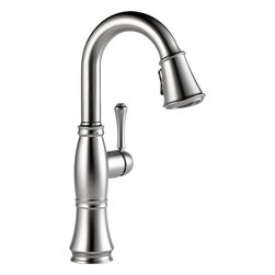 "Delta - Delta 9997-AR-DST Cassidy Single-Handle Bar/Prep Faucet (Arctic Stainless) - Delta 9997-AR-DST Cassidy Single-Handle Pull-Down Bar/Prep Faucet (Arctic Stainless). The Delta 9997-AR-DST is part of the Cassidy Series. This beautiful kitchen faucet features a Touch-Clean Two-Function wand spout, a 62"" braided hose for smooth operation, and a lever handle for precise volume and temperature control. It comes with 32"" Innoflex supply lines with 3/8"" compression fittings, a 1.8 GPM flow rate, and a 6-3/8"" long, 15"" tall spout. This model comes in a brilliant, Arctic Stainless Steel finish."