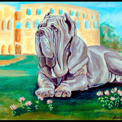 Caroline's Treasures - Neapolitan Mastiff  Indoor Outdoor Mat 18X27 Doormat - Neapolitan Mastiff  INDOOR / OUTDOOR FLOOR MAT This is available in either 18 inch by 27 inch or 24 inch by 36 inch Action Back Felt Floor Mat / Carpet / Rug that is Made and Printed in the USA. A Black binding tape is sewn around the mat for durability and to nicely frame the artwork. The mat has been permenantly dyed for moderate traffic and can be placed inside or out (only under a covered space). Durable and fade resistant. The back of the mat is rubber backed to keep the mat from slipping on a smooth floor. Wash with soap & water.