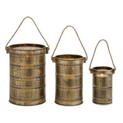 "Benzara - Antique Set of Three Metal Lantern Candle Holders - Deck up your modern home with this lovely set of 3 candle holders. Crafted from metal, this cylindrical set of 3 holders comes in three different sizes with rimmed round edges and a triangular shaped handle for ease in mobility. These rusty gold dyed candle holder set features intricate cravings in circular patterns and design all over so as to let the light of the candle pass. You can place this set together or separately, either way these holders are set to give your home a warm aura of the yesteryears. Your guests and visitors will be in awe at the sight of this unique set and praise your high choice in home decor.This set of 3 candle holder is very easy to maintain and clean. It is designed to suit all types of ambience and surroundings. It will also make up for an excellent choice to present to your family and friends and they surely will treasure this lovely present. So wait no more and get one now. This Set of Three Metal Lantern Candle Holders measures 18 inch (W) x 16 inch (D) x 13 inch (H); Made of metal; Antique appeal with rusty gold shade; Dimensions: 10""L x 9""W x 13""H"