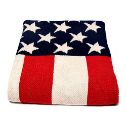 American Flag Throw - Stylish nostalgia is yours with the American Flag Throw, an iconic soft furnishing that brings a timelessly patriotic air to lake houses, guest bedrooms, and any home where an eclectic sense of the enduring brings interest to a room's mood.  An easy-care piece knit in a blend of recycled cotton, this light blanket has equal charm when draped or folded.
