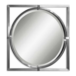 """Uttermost - Uttermost Kagami 30 Inch Round Wall Mirror in Brushed Nickel - This contemporary mirror features a metal frame with a brushed nickel finish. Mirror has a generous 1 1/4"""" bevel."""