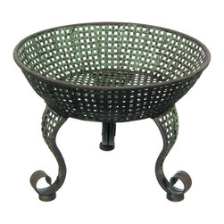 Oriental Furniture - Perforated Iron Bowl Display Stand - Reminiscent of a Grecian brazier, this iron display stand features a copper-green patina for a distinctive antique appearance. Whether standing on the floor of the center of a table, this stand is a unique and distinctive way to complement and enhance a favorite objet d'art or centerpiece.