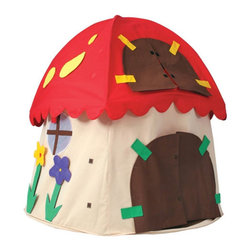 "Bazoongi Kids - Mushroom Play Tent - From straight out of a fairy tale comes the Mushroom Play Tent from Bazoongi Kids. This is the kind of gift that will spark your child's imagination as they spend hours playing with their friends in their own magical house. From the spots on the roof to the flowers on the wall, this unique play tent looks like it belongs in a mythical forest. Good thing it has plenty of space inside, because all your kid's friends are going to want to hang out in their funky mushroom home. Features: -Earthtone colored base with a bright red roof and yellow spots. -100% spun bonded UV / Water resistant fabric. -Patented fiberglass poles with protective plastic coating. -Padded door and padded window on the roof which can be kept open or closed. -2007 Creative Child Magazine Preferred Choice award winner. -For ages 3 and up. -Great for both indoor and outdoor play. -Reusable vinyl carry bag. -Detachable floor for easy clean-up. Dimensions: -61"" H x 60"" W x 60"" D, 8 lbs."