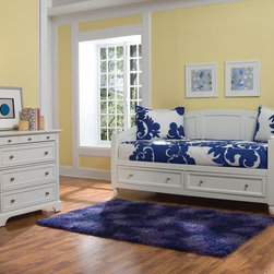 None - Naples White Daybed and Chest - With these convenient and stunning daybed sets, you can furnish your spare room or a small bedroom with ease. The elegant white daybed includes two storage drawers, and the coordinating Naples chest creates even more storage space.