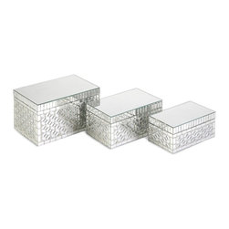 "IMAX CORPORATION - Mandiline Mirror Mosaic Boxes - Set of 3 - Mirrored tiles add sweet sophistication to this set of three Mandiline mosaic boxes. Perfect for any nightstand, dresser or vanity. Set of 3 in various sizes measuring around 10.5""L x 7""W x 6.25""H each. Shop home furnishings, decor, and accessories from Posh Urban Furnishings. Beautiful, stylish furniture and decor that will brighten your home instantly. Shop modern, traditional, vintage, and world designs."