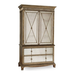 """Hooker Furniture - Sanctuary Armoire - White glove, in-home delivery included!  Pursue serenity at home with the Sanctuary collection.  Create your own personal sanctuary, a special place where you can experience comfort within.  Two doors with two shelves and clothing rod, two self closing drawers, bottom drawer is cedar-lined.  Cabinet: 45 1/8"""" w x 19 1/4"""" d x 48 1/4"""" h"""