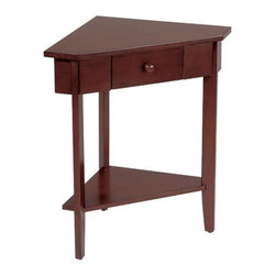 OSP Designs - Madison Corner End Table - This intricate corner table nestles in any corner bringing a very special touch. Finished in Walnut, it bestows versatility by fitting in any d cor. The drawer both brings a special touch and conveniently serves as storage. You will be pleased by the simple beauty of this corner table. Features: -Crafted of solid wood.-Solid wood drawer pulls.-Multiple bolts to ensure strong legs.-1 Shelf.-Wood Veneer Walnut finish.-Madison collection.-Collection: Madison.-Distressed: No.Specifications: -1 Drawer.Dimensions: -Overall dimensions: 27'' H X 26'' W X 16'' D.-Overall Product Weight: 19 lbs.