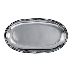 Medici Oval Bread Plate - Serve in confident style with the Medici Oval Bread Plate, a long platter made from cast pewter with a simple beaded edge. Always at home in your decor, this pewter presentation piece is styled to enhance every tablescape, so that an elegant, smart piece is always near at hand for the occasion. A polished finish catches the light for additional glamor.