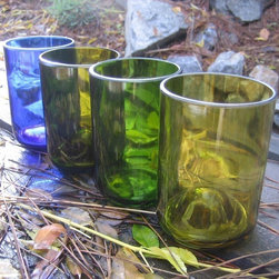 Repurposed Wine and Skyy Bottle Short Tumblers by Bottlehood - Repurposed glasses from wine bottles are just beautiful. I want these in my cupboards.