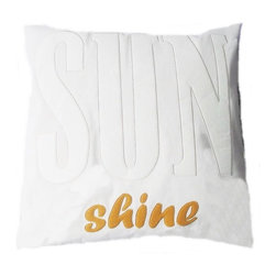 "5 Surry Lane - Modern Applique Cotton Word Pillow SUN SHINE home decorative summer - This beautiful applique word pillow says it all, ""Sun SHINE"".  Neutral with a pop of color, this pillow will fit into any design aesthetic or color scheme.  100% cotton.  20x20"".  Hidden zipper closure.  Down insert included."