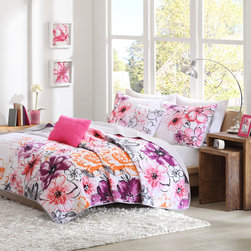 ID-Intelligent Designs - Intelligent Design Cassidy 3-piece Coverlet Set - The Intelligent Design Cassidy coverlet set uses bright colors and an asymmetrical floral design to dazzle your space. Two decorative pillows feature floral embroidery and fabric manipulation,providing extra dimension to the top of bed.