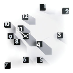 Progetti - RND Time 1342 Black Wall Clock - Wall clock, small cubes in nylon. Battery quartz movement. Small cubes may be assembled random on the wall.