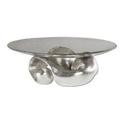 Contemporary Silver Entwined Bowl - *Lightly champagned silver leaf with clear glass bowl.
