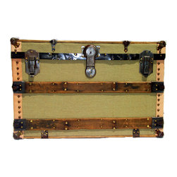 """Burlap Box Trunk - Genuine antique and vintage trunk hardware and parts, mounted on a 3/4"""" plywood board, assembled with real brass plated trunk nails to create the front face of a real antique trunk."""