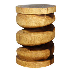 Kammika - Spiral Column Wood End Table 14 D x 20 inch Ht Monkey Pod - Livos Walnut Oil - Revel in the simplistic design of our Spiral Column sustainable Monkey Pod Wood End Table 14 inch Diameter x 20 inch Height in Eco Friendly, Natural food-safe Livos Walnut Oil Finish that is reminiscent of Greco columns. The spiral depth of the cuts exposes the internal wood structure and fascinating grain; you can view the changing wood patterns as you circle the piece.