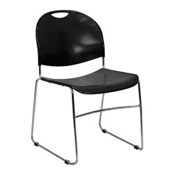 Flash Furniture - Hercules Series 880 lb. Capacity Black Stack Chair with Chrome Frame - Hercules Series 880 lb. Capacity Black High Density, Ultra Compact Stack Chair with Chrome Frame