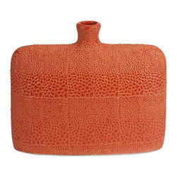 iMax - Isla Small Vase - Bold orange color finished in a crackle glaze revitalizes rooms and is reminiscent of reptile patterns on this small vase.