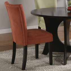 Coaster - Castana Parson Chair, Terracotta - Set of 2 - This beautiful parson style dining side chair will be a lovely addition to your contemporary dining room. The high sleek curved chair back and plush padded seat is covered in a soft and durable microfiber fabric, available in five colors to complement your decor. Chocolate, gold ochre, terracotta, taupe, or light green upholstery sits above square tapered legs in a rich dark cappuccino finish.