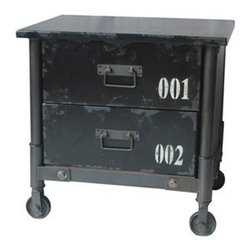 Atelier Rolling Side Cabinet - Wheel this compact two-drawer cabinet for a home storage space on the go. The iron frame is painted black, with matching MDF drawer fronts and top that have been perfectly distressed and stenciled in white with warehouse-style numbering. For adventurous decorators, it makes an unusual nightstand or side table, too.