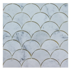 Mission Stone Tile - Large Curve Appeal - Bianco Carrara Marble Polished , Sample - Sold by the sample piece