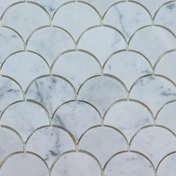 Mission Stone Tile - Curve Appeal Large- Carrara  Fan Shaped Mosaic, Sample - Curve Appeal Large | Polished | Sample
