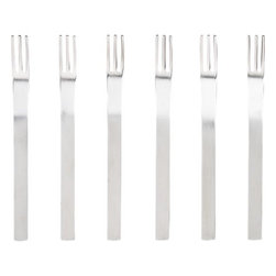 mini cocktail forks set of six - a little etiquette.  Party smart itsy forks in matte 18/8 stainless steel with polished prongs. Flat modern shapes with great heft and head to handle lines. Matching spreaders/spoons available.- Perfect party size- Durable 18/8 stainless steel with brushed handles- Dishwasher-safe- Made in China- See dimensions below