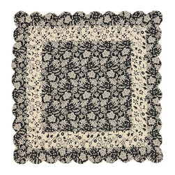 "VHC Brands / Ashton & Willow - Cordova Quilt, King Queen - The Ashton & Willow quilt has a black floral pattern on a creme ground. It features scalloped edges. It has 100% cotton shell and is machine quilted with a ""wave"" quilting."