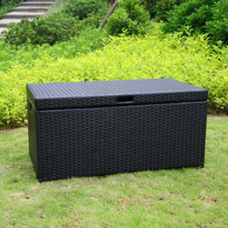 "Jeco - Outdoor Black Wicker Patio Storage Deck Box - ""Bring a natural element into your home with our Resin Wicker Storage Trunk. This stylish deck box is perfect for any room. Use it indoors to store extra blankets, pillows or towels in a guest room bathroom or outdoors to enhance the appearance of your backyard. This wicker trunk features a steel frame with tightly woven resin wicker panels. Hinged top lid allows for easy opening convenience. The top also features a chain stopper to prevent the top from flipping backwards. Handles on both sides of the trunk make portability easy."