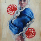 """Denise H. Cooperman - """"Dragon Mother"""" by Denise H. Cooperman, Original Oil Painting - Inspired by Game of Thrones, Daenerys Targaryen, Khaleesi. Original Oil Painting of """"DRAGON MOTHER"""" on canvas by Denise H. Cooperman, Artist.  Painting includes a custom hand carved wood frame specifically selected to enhance the painting. Size listed is the canvas measurement. Shipping and insurance fees are included in the shipping cost.   This is part of the GOT series, a collection of four Royals."""
