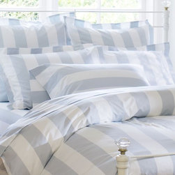 PB Classic Stripe 400-Thread-Count Duvet Cover & Sham, Porcelain Blue - This soft blue and cream striped bedding is peaceful and calm; it would be the best refuge in the cold winter months.