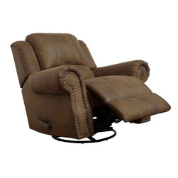 """Coaster - Swivel Rocker Recliner, Brown - Covered in brown coated microfiber with individually place nailheads, this rocker recliner has it all: comfort, style and durability.; Casual Style; Finish/Color: Brown; Upholstery: Coated Microfiber; Dimensions: 44""""L x 37""""W x 41""""H"""