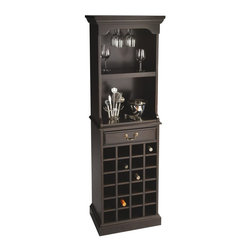Butler - Butler Speciality Wood Wine Tower with Stemware Rack - 3027024 - Shop for Wine Bottle Holders and Racks from Hayneedle.com! Complete the look and functionality of any dining room or cocktail area with the elegant beauty of the Butler Speciality Wood Wine Tower with Stemware Rack. This distinctive piece is the perfect place to showcase your wine collection and keeps up to 24 bottles at the ready. Crafted from solid woods and veneers this tower is finished in a deep Plantation Cherry and Rubbed Black finish. A middle drawer holds bar items napkins and other items while the above top works as a display table for decorative items and open bottles. A top stemware rack gracefully holds your wineglasses securely. It offers everything you need for a wonderful wine station all in one package. Simply invite a few friends over and enjoy. About Butler SpecialtyButler Specialty Company has been designing and manufacturing high-quality occasional and accent furniture since 1930. Each piece reflects Butler's dedication to enduring design exquisite craftsmanship and top-quality materials. This family-owned company is based in Chicago. They scour the globe in search of the finest materials and most efficient means of production reflecting their commitment to providing excellent quality at exceptional value.