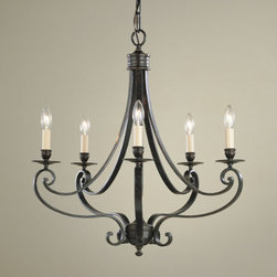 Corsica 5-Light Chandelier - Simple in design, yet beautifully elegant, the Corsica 5-Light Chandelier would look wonderful in a family room or over a large bed.  5 lights ensure lots of light.  Have this fixture installed with a dimmer to create soft lighting whenever you wish.  The Corsica chandelier is hand crafted of steel with an antique bronze finish.