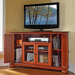 Crosley Furniture - Alexandria 48 in. Wood Corner TV Stand w Roun - Alexandria Collection. Classic Cherry finish. 3 Adjustable shelves. 4 Beautiful raised panel doors. Accommodates most 52 in. TVs. Solid hardwood and veneer construction. Hand rubbed multi-step finish. Tempered beveled glass doors. Wire management. Adjustable levelers in legs. Hardware design:. Brushed Nickel hardware for Black finish. Antique Brass hardware for Classic Cherry finish and Vintage Mahogany finish. Assembly required. 1-Year manufacturer's warranty. 47.75 in. W x 18 in. D x 29 in. H (98 lbs.)
